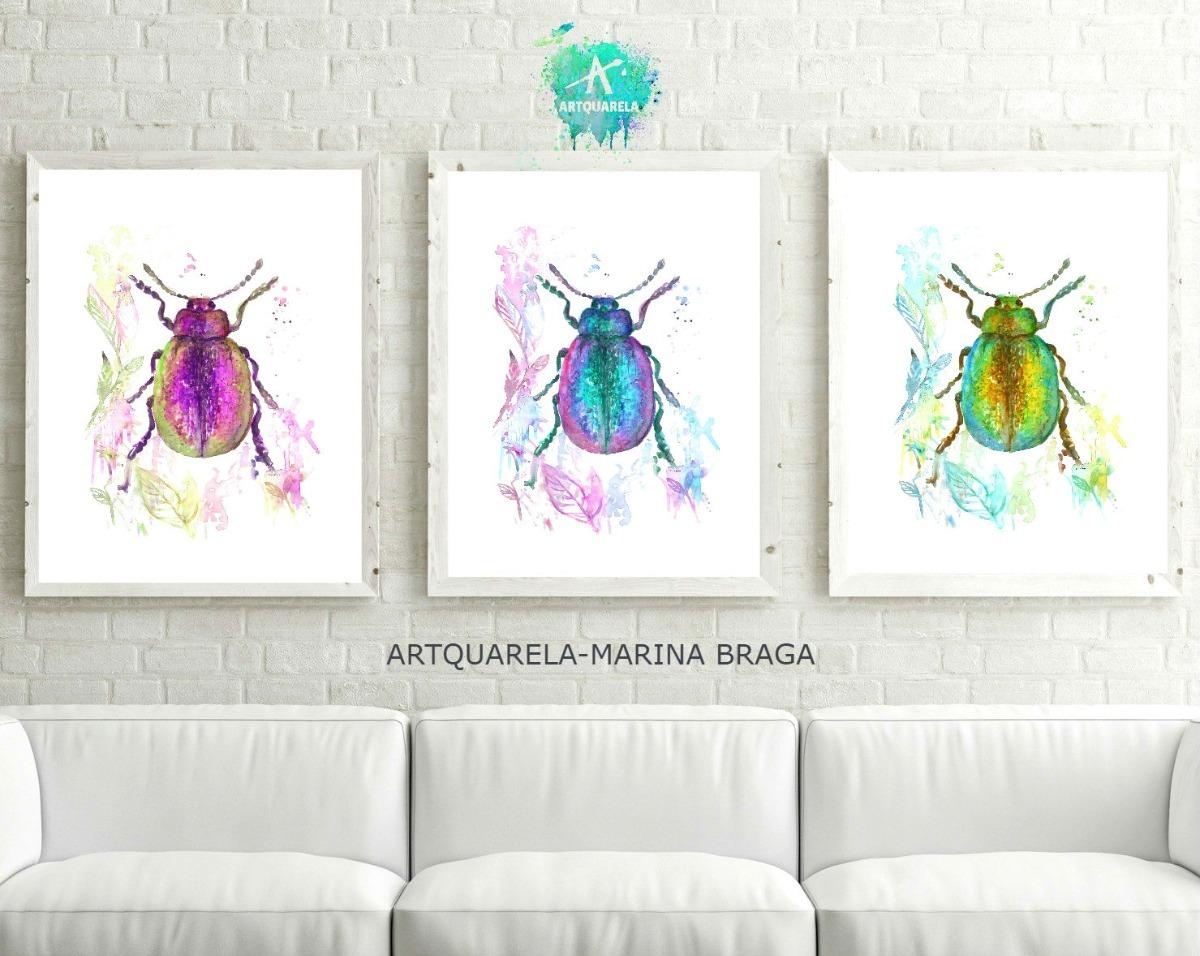 Tríptico Moderno Decoración Insecto Escarabajo 42 X 30 - $ 507,78 en ...