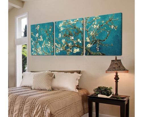 tríptico van gogh blossoming almond tree en lienzo canvas artistico tipo galeria