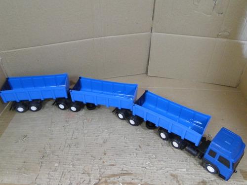 tritrem bitrem azul 88cm caçamba graneleiro 09 eixos esc1/32