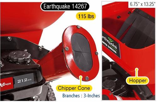 trituradora de ramas y hojas earthquake viper 212cc, 9 hp