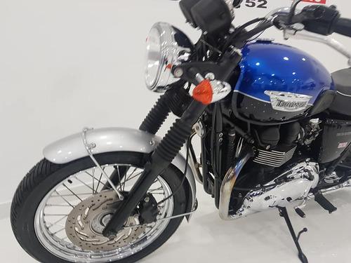 triumph bonneville t100  azul - 2015  - km 20.000