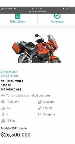 triumph tiger 1050 special edition abs