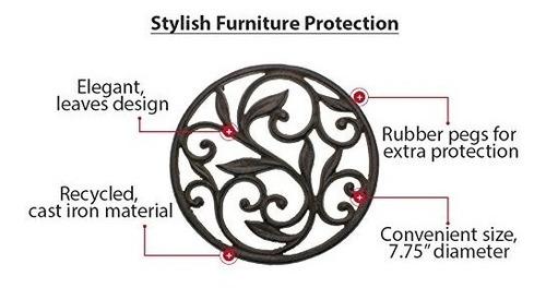 trivet de hierro fundido - redondo con diseño vintage - t...