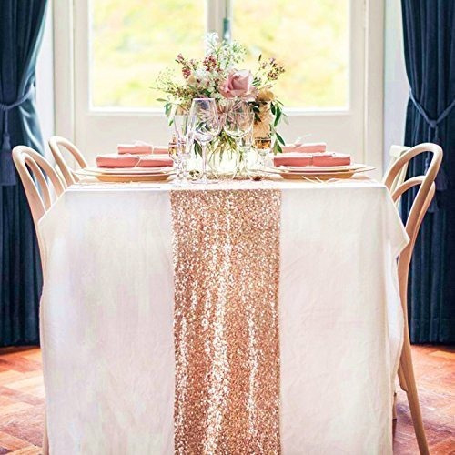 trlyc 6 piezas 12 por 108inch wedding royal sequin table run