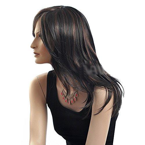 troadzwig moda negro larga recta pelo rayado n