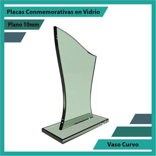 trofeo en vidrio referencia vaso curvo pulido plano 10mm