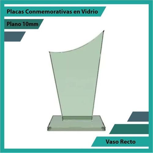 trofeo en vidrio referencia vaso recto pulido plano 10mm
