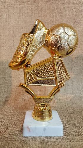 trofeo plástico fútbol arco pelota botin 13cm souvenir
