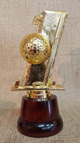 trofeo plástico golf hoyo uno 16cm souvenir base madera