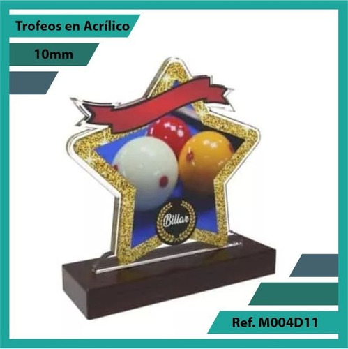 trofeos en acrilico billar ref. m004d11