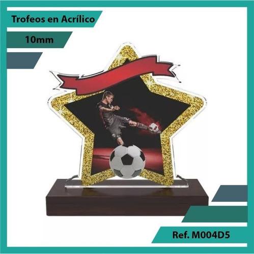 trofeos en acrilico de futbol ref. m004d5