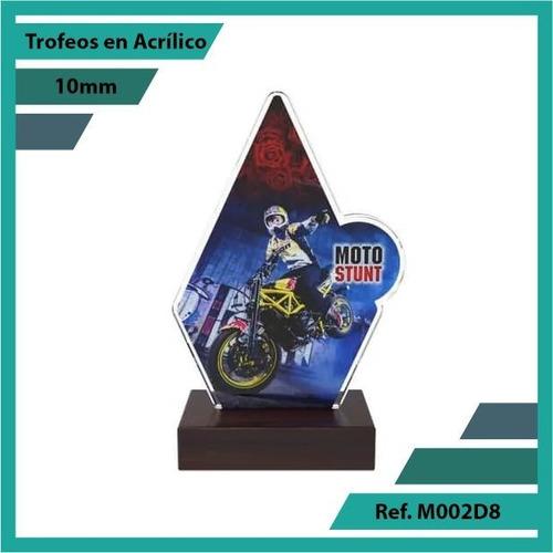 trofeos en acrilico de moto stunt ref. m002d8