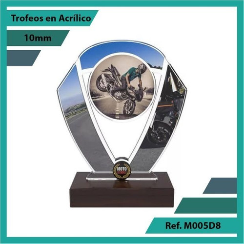 trofeos en acrilico moto stunt ref. m005d8