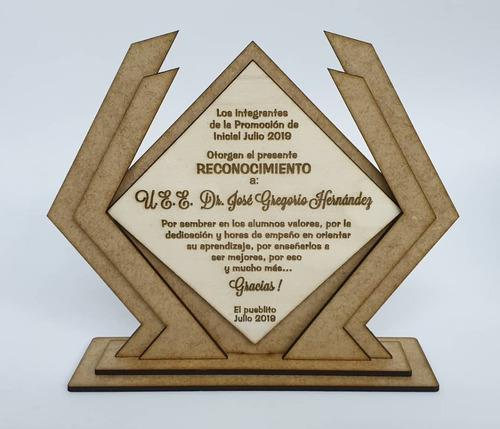 trofeos en mdf. grabado laser medallas placas 15cm