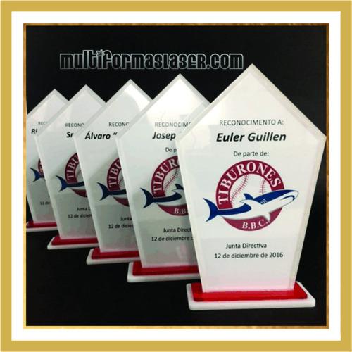 trofeos, reconocimientos, medallas de acrilico, mdf laminado