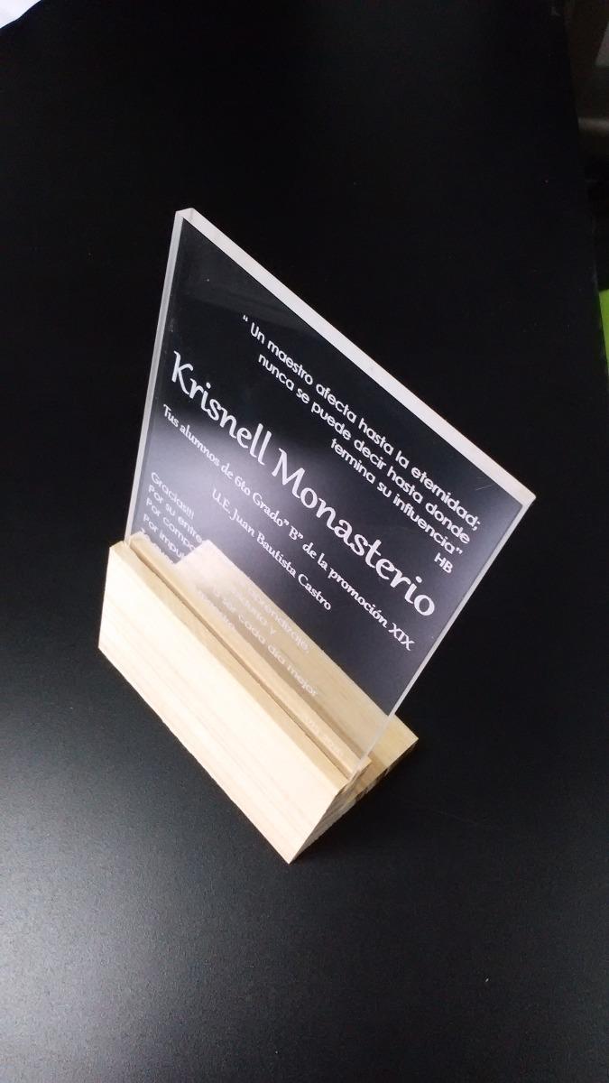 Trofeos y placas de reconocimiento en acrilico y madera - Placa de madera ...
