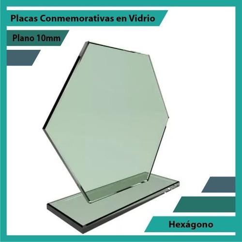 trofeos y placas de reconocimiento en vidrio hexágono 10mm