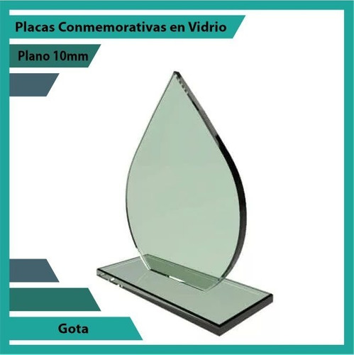 trofeos y reconocimiento en vidrio gota 10mm