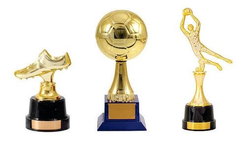 troféu futebol - kit com 3 - melhores do campeonato