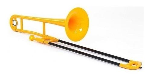 trombon tenor abs plastico parquer amarillo funda soporte