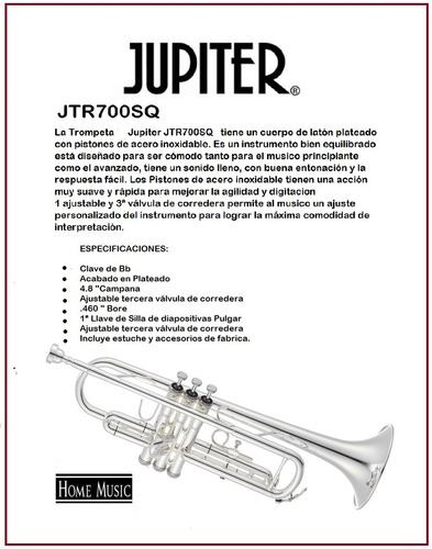 trompeta jupiter jtr700sq trompeta de lujo nuevo d-carlo