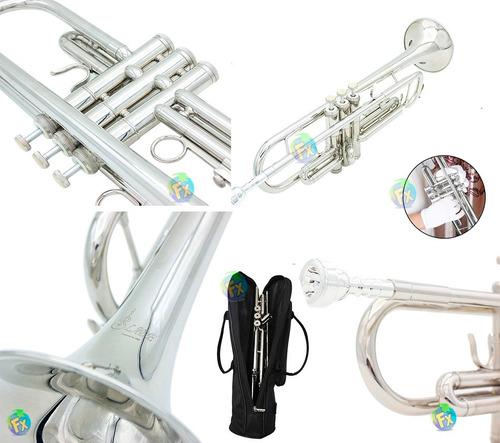 trompeta plata envio gratis + estuche boquilla profesional