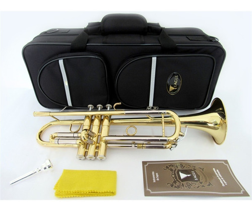 trompete de sopro eagle laqueado tr504 em sib + case luxo