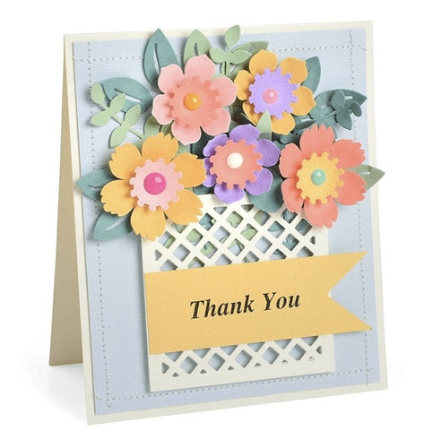 troqueladoras de caja con flores  flower basket 12 piezas si
