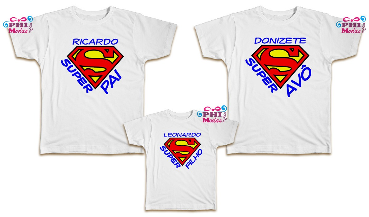 233bb89e0787bb Três 3 Camisetas Personalizadas Família Super Pai Avô Filho