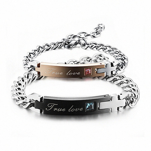 true love 316l stainless steel his/hers matching couple brac