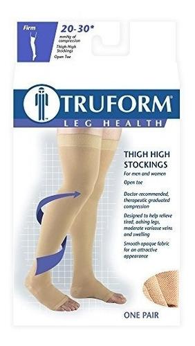 truform open toe, muslo alto 20-30 mmhg medias de compresión