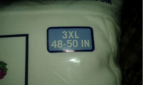 trusa blanca fruit of the loom tallas extras 3xl y 2xl