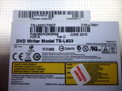 ts-l633 drive de dvd rw sata toshiba samsung original