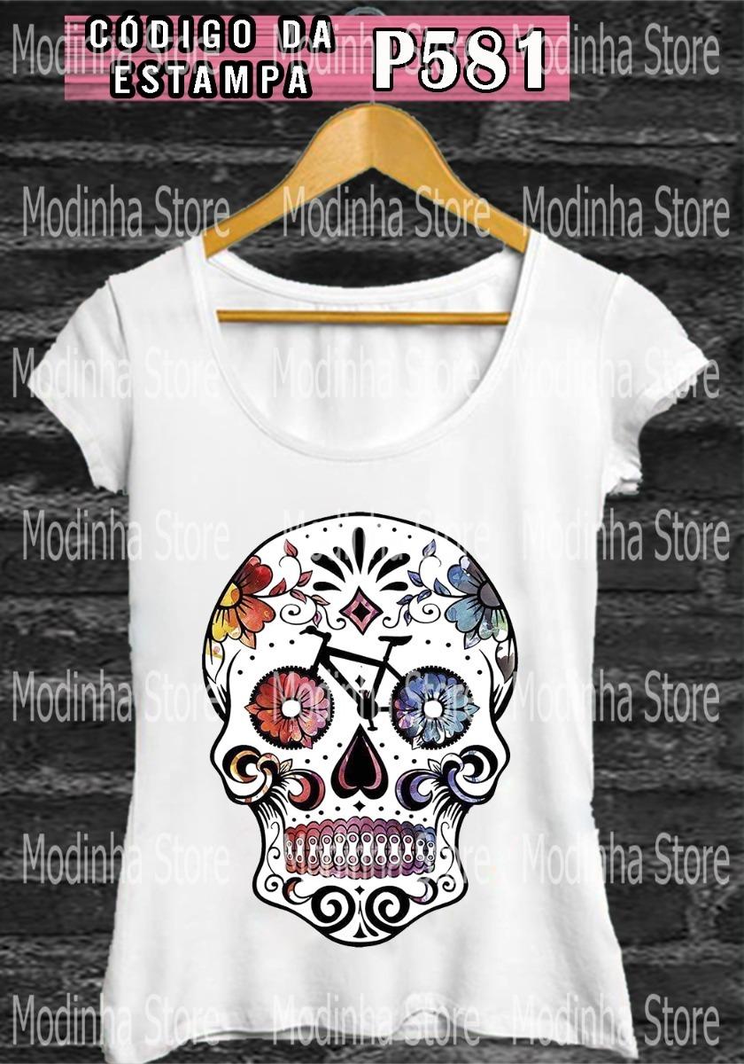 tshirt bicicleta camiseta blusa feminina caveira baby look. Carregando zoom. 05c211c66fd