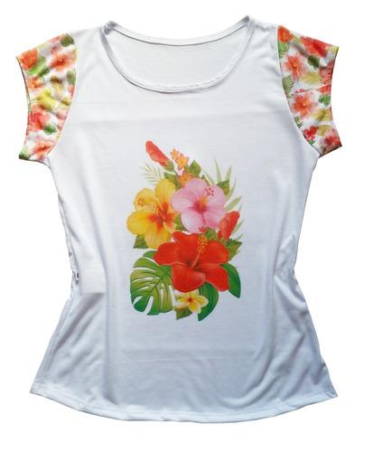 62e31f3ba3 tshirt blusa camiseta feminina estampa tropical hibisco