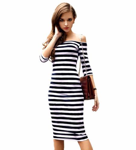 tsuki moda asiatica: vestido casual lineas rayas sexy fiesta