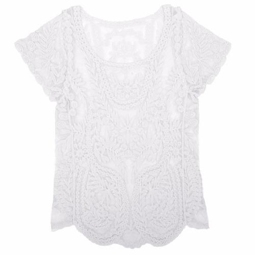 tsuki moda japonesa: blusa crochet encaje casual elegante