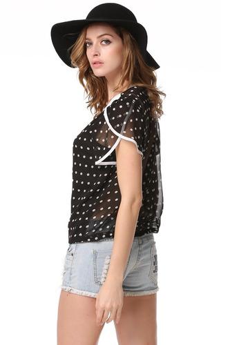 tsuki moda japonesa: blusa dama elegante polka dots lunares