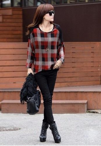 tsuki moda japonesa: blusas dama cuadros casual tartan