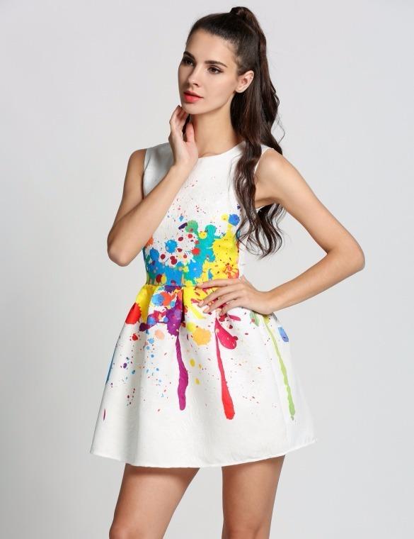 Tsuki Moda Japonesa Vestido Linea A Corto Fiesta Brochazos