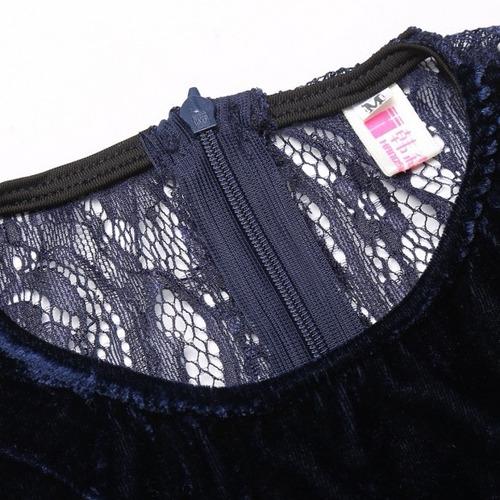 tsuki moda japonesa: vestido manga larga terciopelo encaje