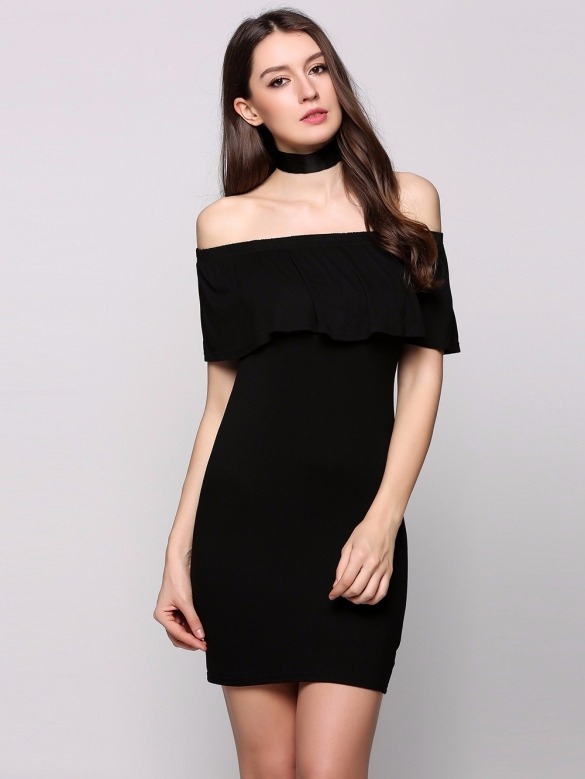 Tsuki Moda Japonesa Vestido Sin Hombros Negro Sexy Casual