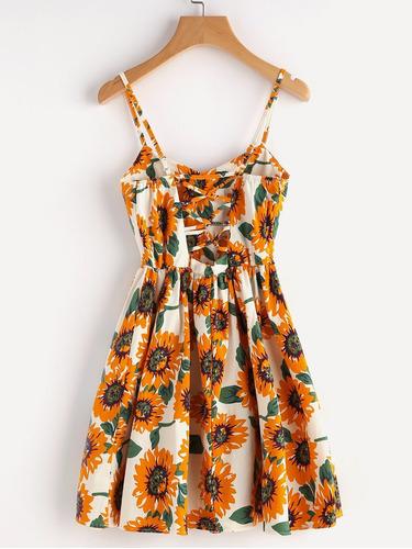 tsuki moda japonesa: vestidos casuales flores girasol fiesta