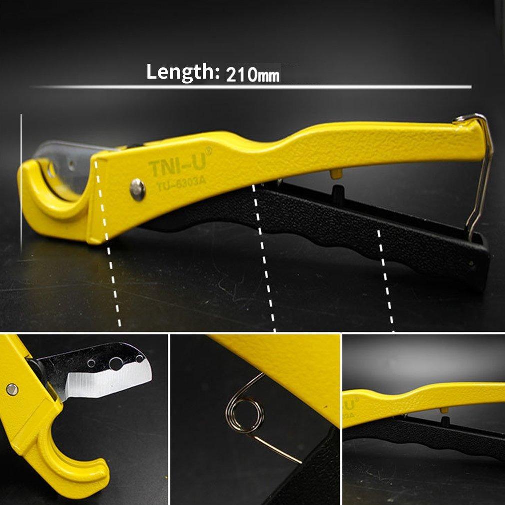 Negro y amarillo TU-6303A Cortador de tuber/ía de PVC Cuerpo de trinquete de aleaci/ón de aluminio de 42 mm Tijeras Cortador de tubo PVC//PU//PP//PE Herramientas manuales de corte de manguera