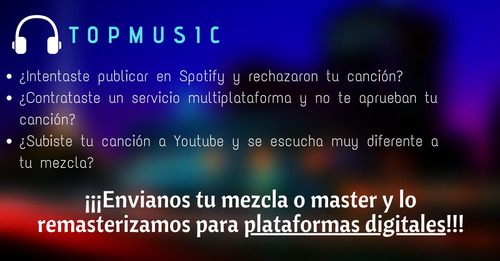tu música lista para spotify/youtubemusic/deezer/applemusic