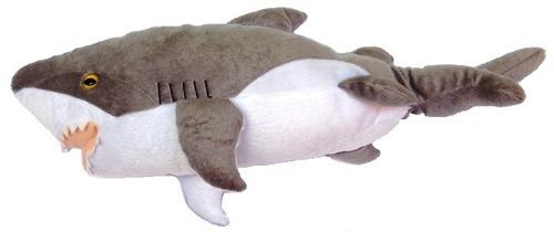 tubarão cinza pelúcia aquatico 43cm lavável antialérg unisex