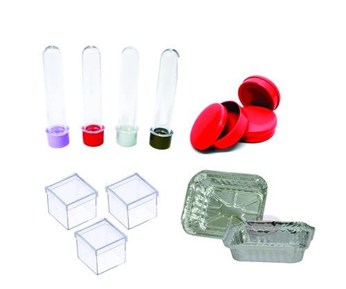 tubetes, latinhas plásticas, caixinhas 4x4 e marmitinhas