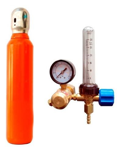 tubo cilindro 2 metros + valvula argon c/ caudalimetro
