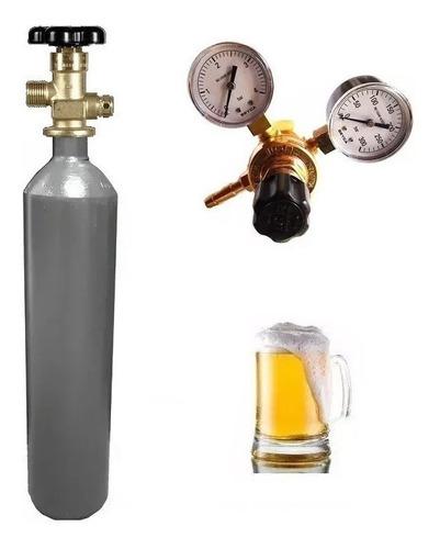tubo co2 de 1 m3 + regulador carbonatar cerveza 2 manometros