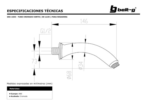 tubo cromo corto ( de lujo ) para regadera belt-g gri-1835